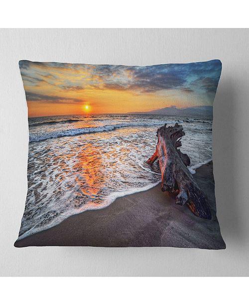 "Design Art Designart Fantastic Sandy Shore At Sunset Seashore Throw Pillow - 18"" X 18"""
