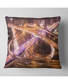 "Designart Beautiful Shanghai Traffic Throw Pillow - 18"" X 18"""