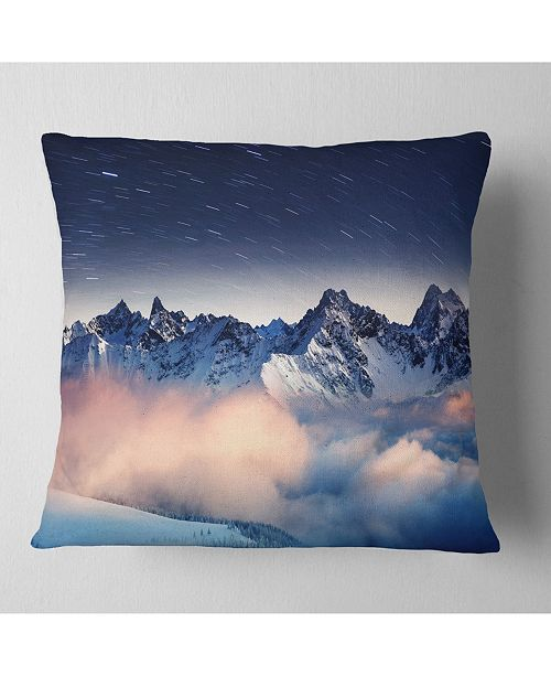 "Design Art Designart Milky Way Over Frosted Mountains Landscape Printed Throw Pillow - 16"" X 16"""