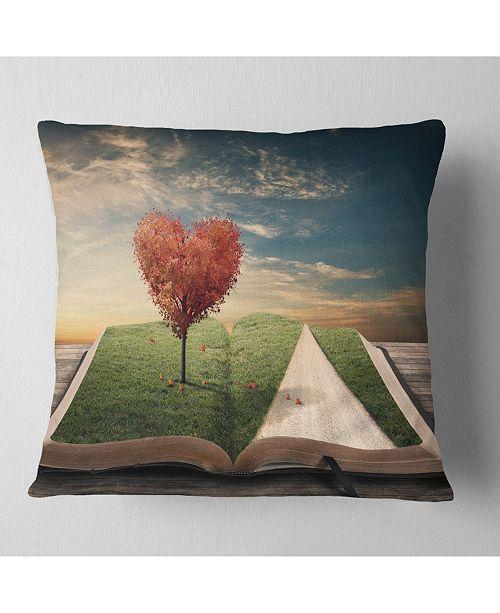 "Design Art Designart Amazing Heart Tree And Book Abstract Throw Pillow - 18"" X 18"""