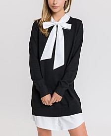 English Factory Sweater Dress with Shirt Collar and Bottom