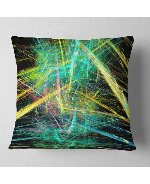 "Design Art Designart Green Yellow Magical Fractal Pattern Abstract Throw Pillow - 18"" X 18"""