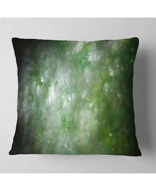 """Design Art Designart Blur Green Starry Fractal Sky Abstract Throw Pillow - 18"""" X 18"""""""