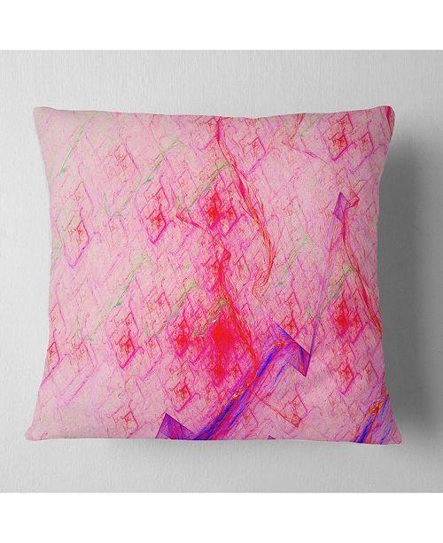"""Design Art Designart Pink Fractal Electric Lightning Abstract Throw Pillow - 18"""" X 18"""""""