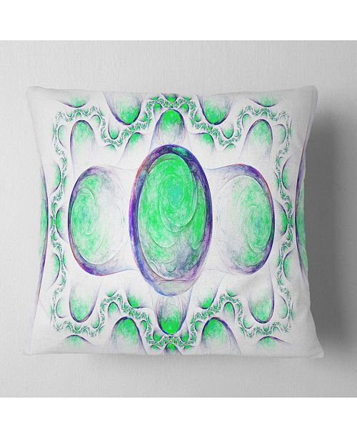 "Design Art Designart Green Exotic Pattern On White Abstract Throw Pillow - 18"" X 18"""