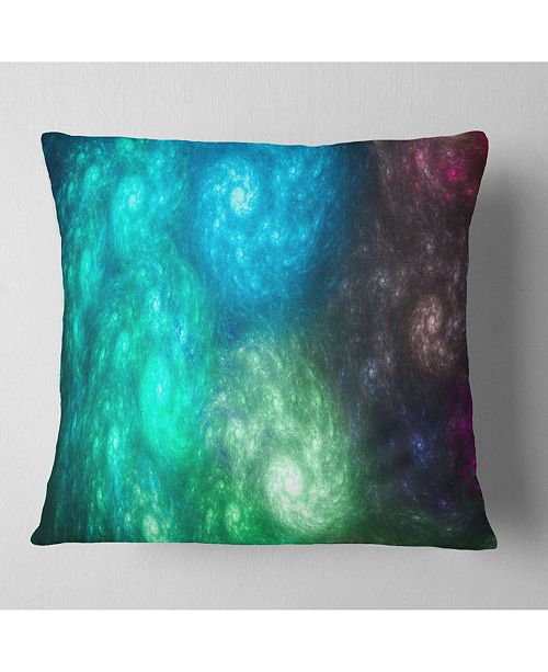 "Design Art Designart Colorful Rotating Fractal Galaxies Abstract Throw Pillow - 18"" X 18"""