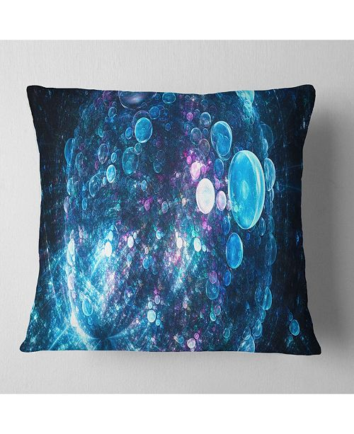 "Design Art Designart Blue Spherical Planet Bubbles Abstract Throw Pillow - 16"" X 16"""