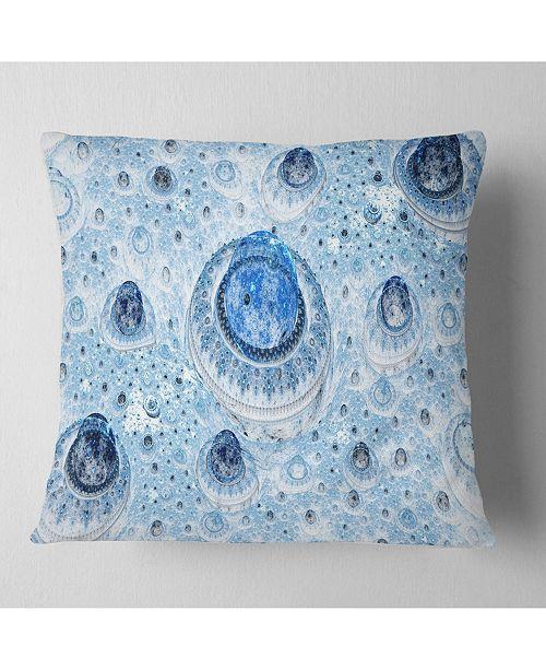 """Design Art Designart Light Blue Fractal Exotic Planet Abstract Throw Pillow - 18"""" X 18"""""""