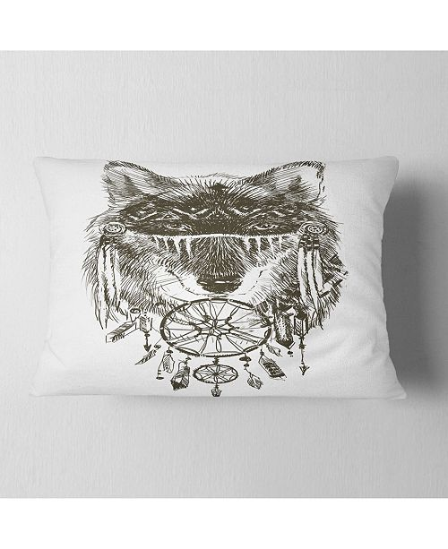 "Design Art Designart Funny Indian Wolf Warrior Watercolor Contemporary Animal Throw Pillow - 12"" X 20"""