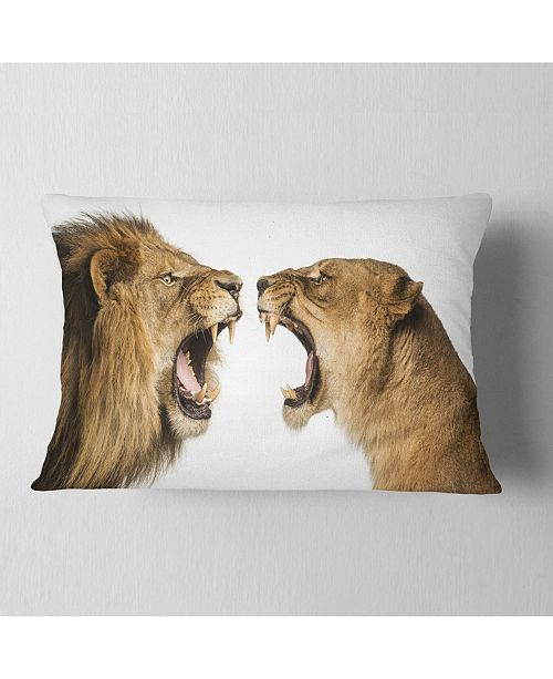 "Design Art Designart Lion And Lioness Roaring Abstract Throw Pillow - 12"" X 20"""