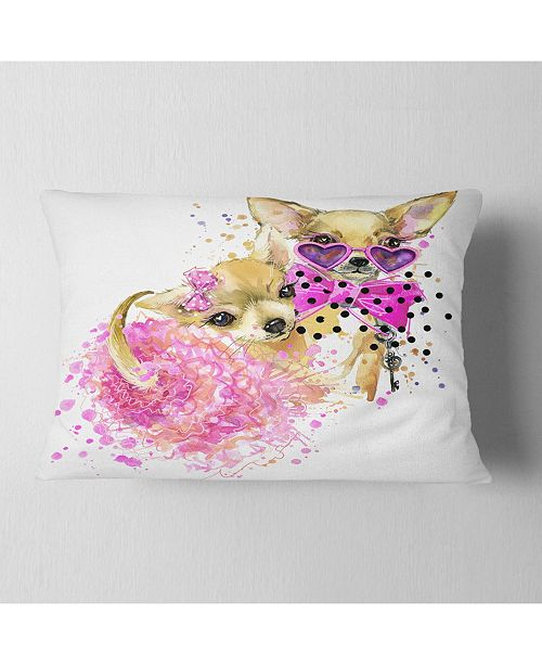 "Design Art Designart Lovely Sweet Dog Watercolor Abstract Throw Pillow - 12"" X 20"""