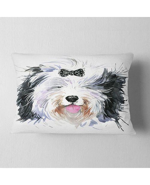 "Design Art Designart Funny Dog Head Black White Animal Throw Pillow - 12"" X 20"""