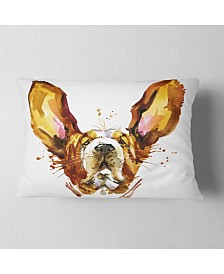 "Designart Funny Brown Dog Basset Animal Throw Pillow - 12"" X 20"""