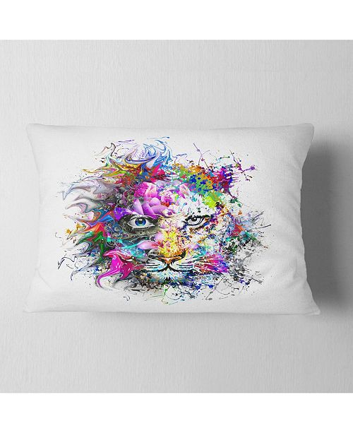 """Design Art Designart Tiger Face In Colorful Splashes Abstract Throw Pillow - 12"""" X 20"""""""