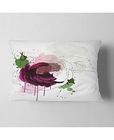 "Designart Purple Rose Sketch Watercolor Floral Throw Pillow - 12"" X 20"""