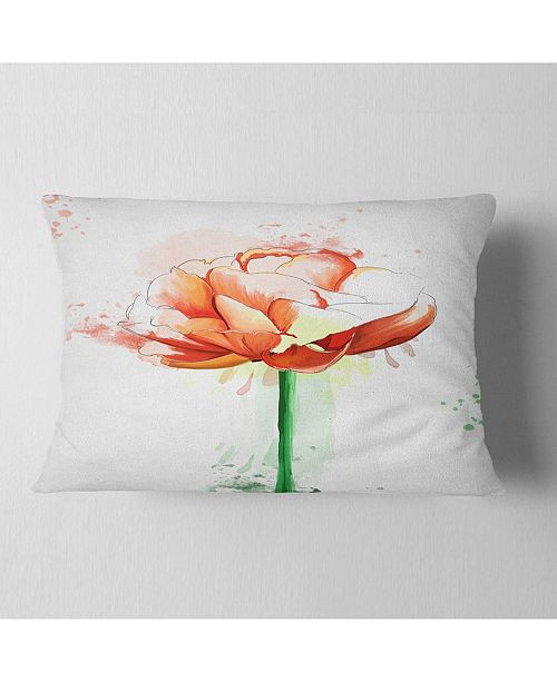 """Design Art Designart Rose With Stem And Paint Splashes Floral Throw Pillow - 12"""" X 20"""""""