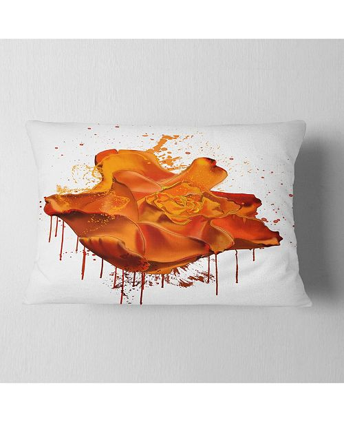 "Design Art Designart Abstract Brown Rose With Splashes Floral Throw Pillow - 12"" X 20"""