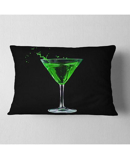 "Design Art Designart Absinthe On Black Background Modern Throw Pillow - 12"" X 20"""
