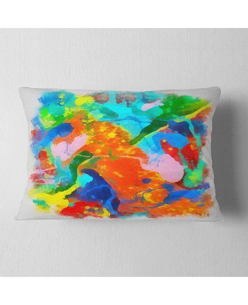 "Design Art Designart Hand Drawn Abstract Floral Pattern Floral Throw Pillow - 12"" X 20"""