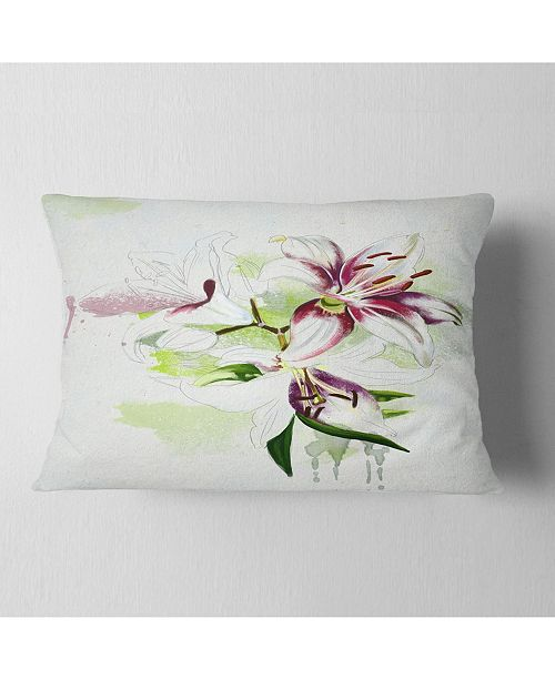 """Design Art Designart Colorful Flowers With Color Splashes Floral Throw Pillow - 12"""" X 20"""""""