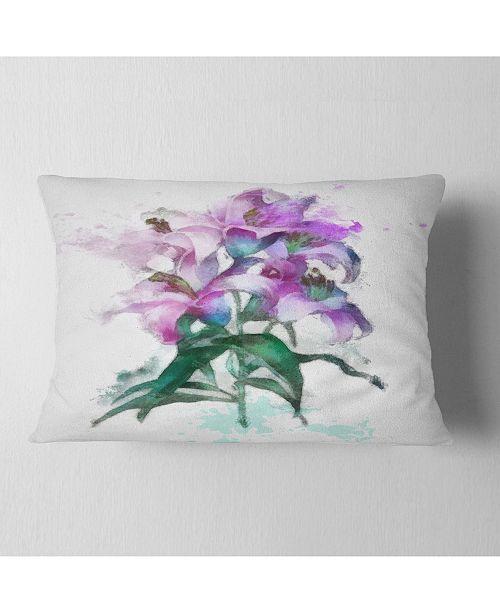 "Design Art Designart Purple Lilies Illustration Drawing Floral Throw Pillow - 12"" X 20"""