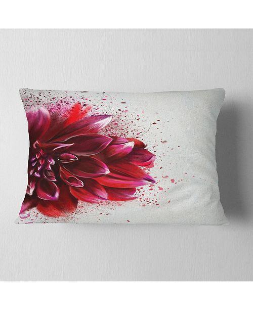 "Design Art Designart Dark Red Watercolor Rose Flower Floral Throw Pillow - 12"" X 20"""