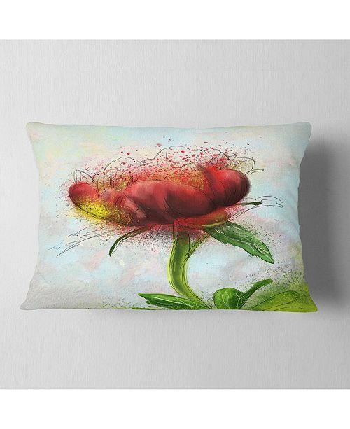 """Design Art Designart Cute Red Green Watercolor Flower Floral Throw Pillow - 12"""" X 20"""""""