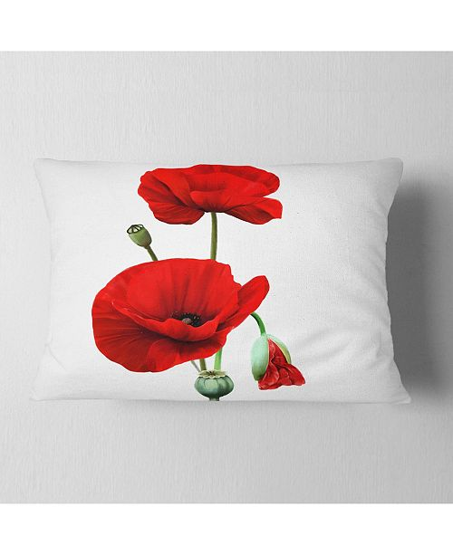 "Design Art Designart Red Poppies On White Background Floral Throw Pillow - 12"" X 20"""
