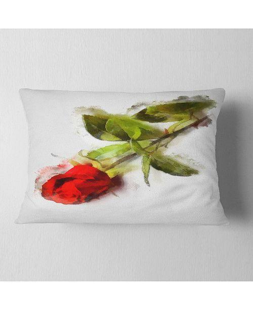 "Design Art Designart Red Rose With Stem Drawing Flower Throw Pillow - 12"" X 20"""