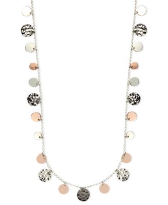Necklace, Tri-Tone Hammered Disc Necklace