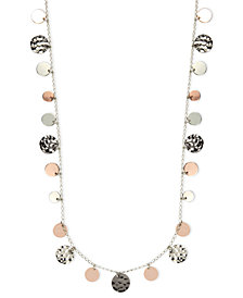 Nine West Necklace, Tri-Tone Hammered Disc Necklace