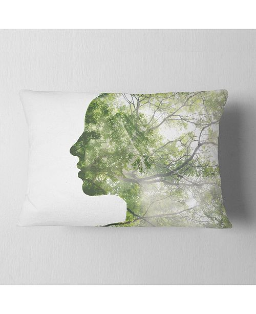 "Design Art Designart Lady Combined With Green Tree Portrait Throw Pillow - 12"" X 20"""