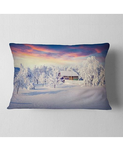 """Design Art Designart Snowfall Covering Trees And Houses Landscape Printed Throw Pillow - 12"""" X 20"""""""