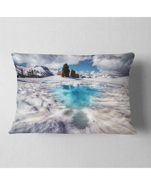 "Design Art Designart Beautiful Snow Covered Lake Landscape Printed Throw Pillow - 12"" X 20"""