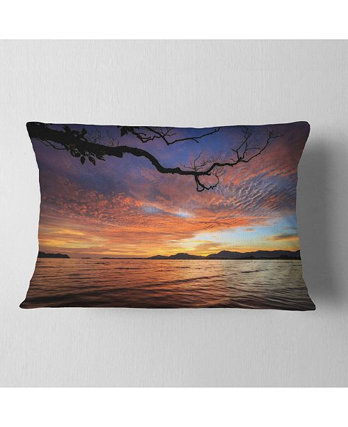 "Design Art Designart Beautiful Sunset Beach In Phuket Seashore Throw Pillow - 12"" X 20"""