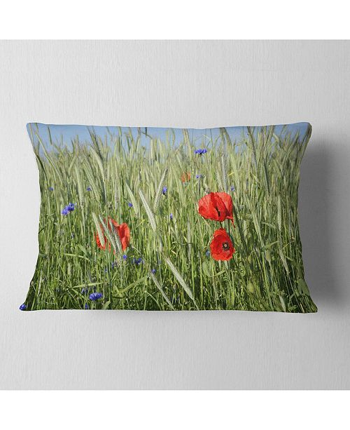 """Design Art Designart Rural Landscape With Red Poppies Landscape Printed Throw Pillow - 12"""" X 20"""""""