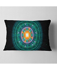 """Designart Cabalistic Turquoise Fractal Sphere Abstract Throw Pillow - 12"""" X 20"""""""