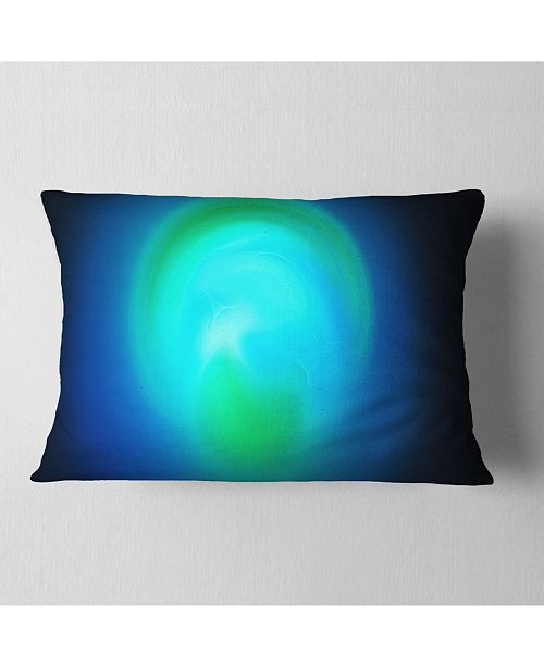 "Design Art Designart Blue Misty Sphere On Black Abstract Throw Pillow - 12"" X 20"""