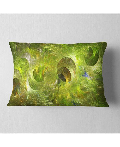 """Design Art Designart Golden Fractal Ornamental Glass Abstract Throw Pillow - 12"""" X 20"""""""