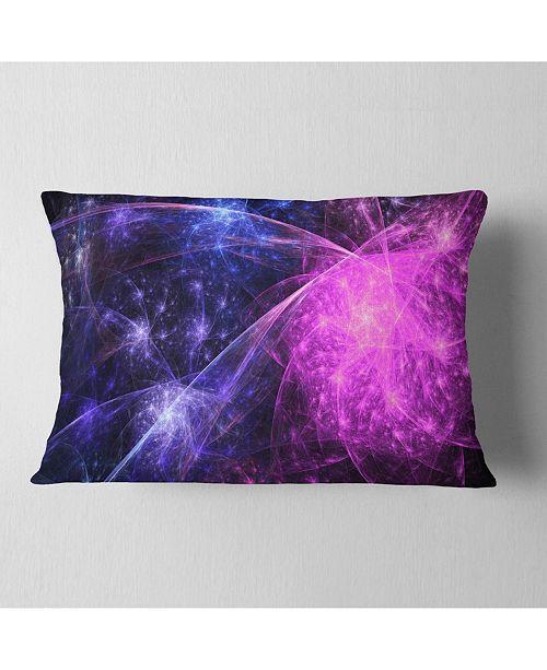 "Design Art Designart Purple Pink Colorful Fireworks Abstract Throw Pillow - 12"" X 20"""