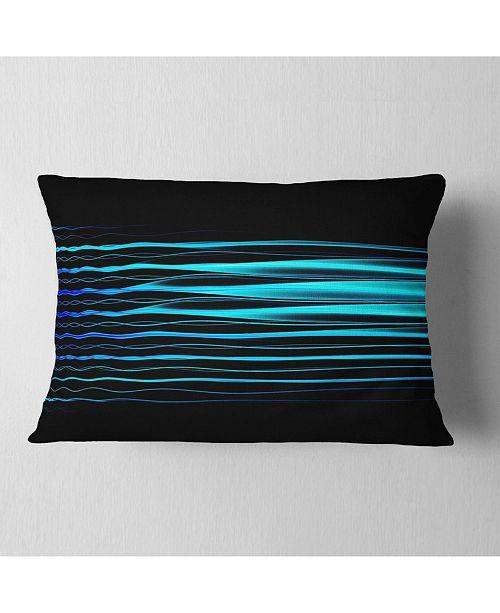 """Design Art Designart Blue Fractal Flames On Black Abstract Throw Pillow - 12"""" X 20"""""""