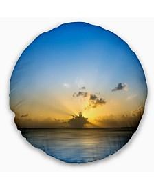 "Designart Sunset Lake In South Thailand Seashore Throw Pillow - 16"" Round"