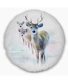 """Designart Beautiful Deer With Big Horns Animal Throw Pillow - 16"""" Round"""