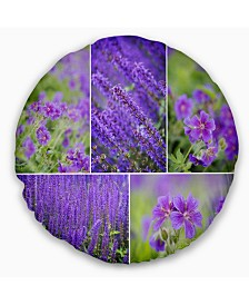 "Designart Blue Spring Flowers Collage Floral Throw Pillow - 16"" Round"