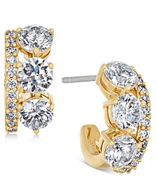 18k Gold-Plated Cubic Zirconia Small J-Hoop Earrings, Created For Macy's