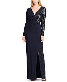 Lauren Ralph Lauren Sequined Long-Sleeve Jersey Gown
