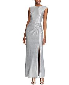 Lauren Ralph Lauren Metallic Sleeveless Side-Slit Gown
