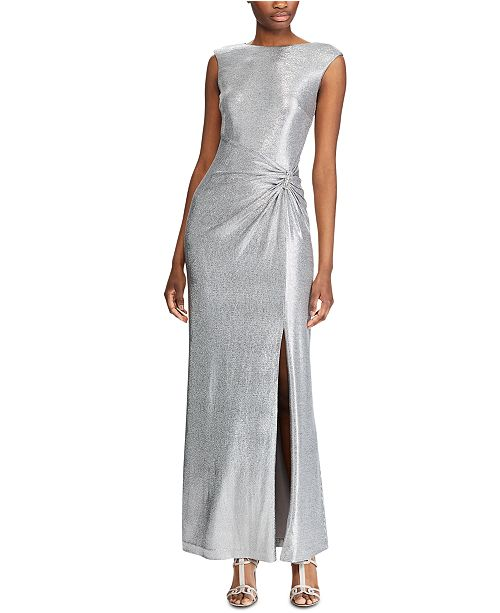 Lauren Ralph Lauren Metallic Sleeveless Side-Slit Gown