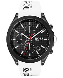 BOSS Men's Chronograph Velocity White Silicone Strap Watch 45mm