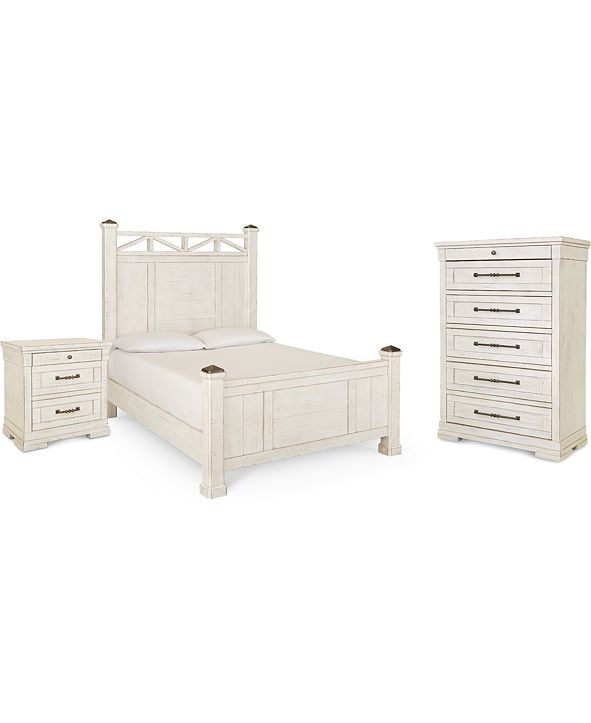 Klaussner Trisha Yearwood Homecoming Post Bedroom Collection 3-Pc. Set (Queen Bed, Nightstand & Chest)